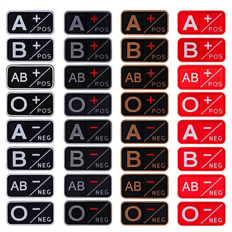 AliExpress - 3D PVC Patch A+ B+ AB+ O+ Positive POS A- B- AB- O- Negative NEG Blood Type Group Patch Tactical  Patches Military Badges