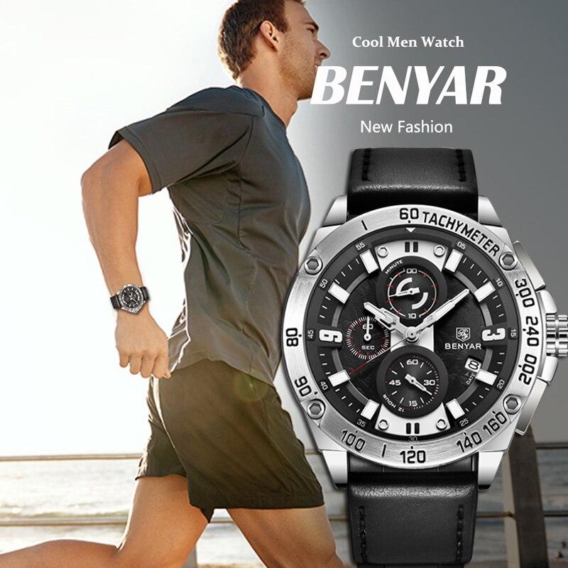 BENYAR 2019 New Men's Watches Business/Military Quartz Watch Black Leather Watch Men waterproof Chronograph Relogio Masculino