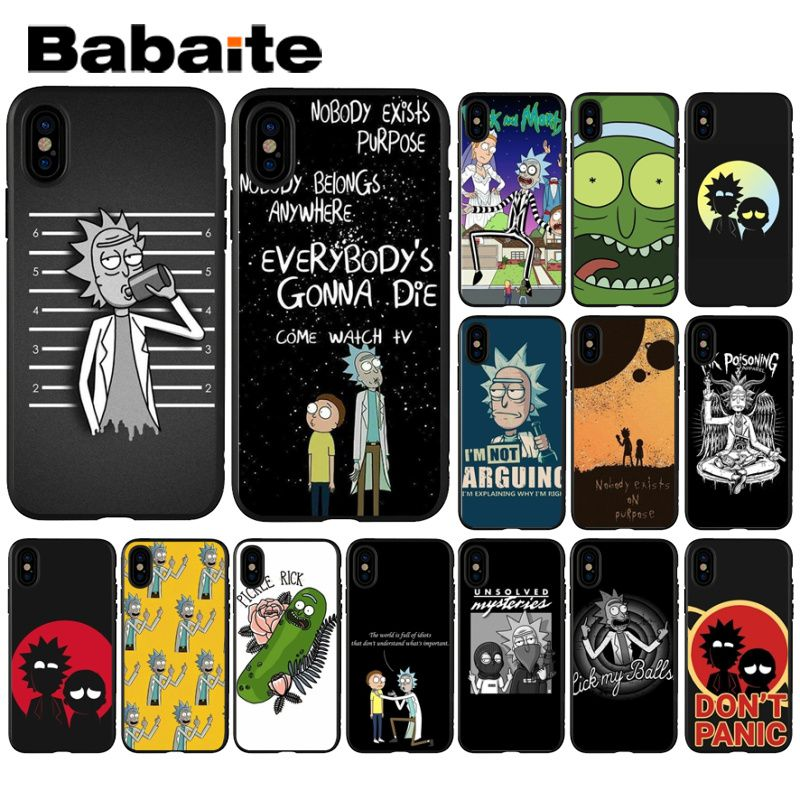 Babaite Rick y Morty divertido de impresión de dibujos animados DIY alta-Protector final caso para iPhone 8 7 6 6S Plus 5 5S SE XR X XS X MAX Coque Shell