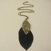 Collier bohème Boho feuille de strass plume noire gland collier pendentif chandail longue chaîne