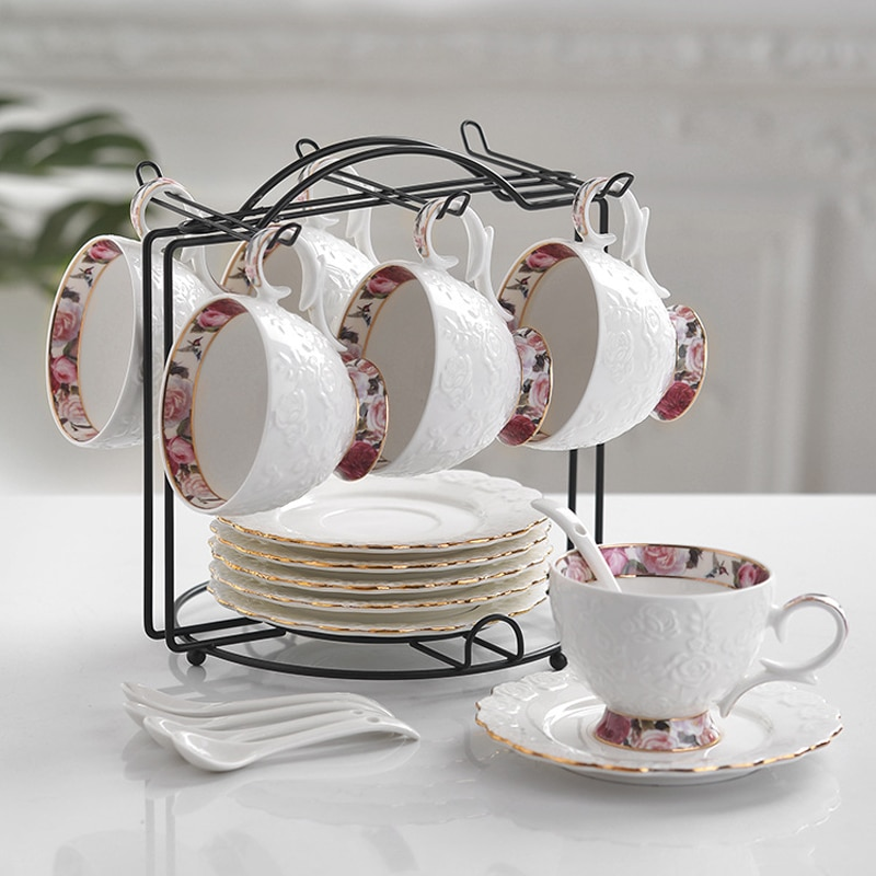 Tasse et soucoupe de café en céramique   Ensemble européen de tasses à café en porcelaine de haute qualité britannique avec fleur de laprès-midi, tasse et cuillère