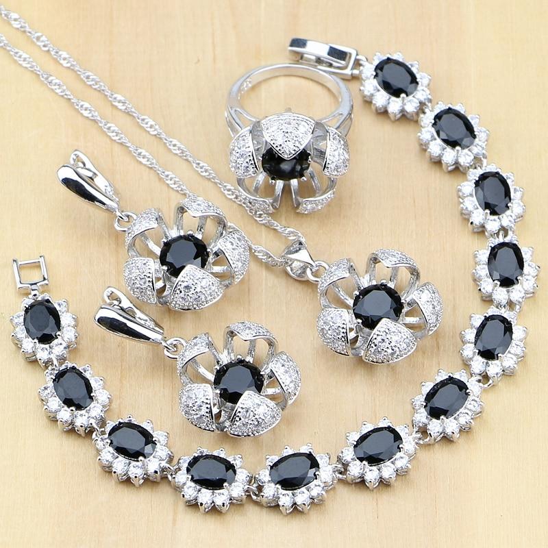 Flower Shaped 925 Sterling Silver Jewelry Black White CZ Jewelry Sets For Women Earrings/Pendant/Rings/Bracelet/Necklace Set
