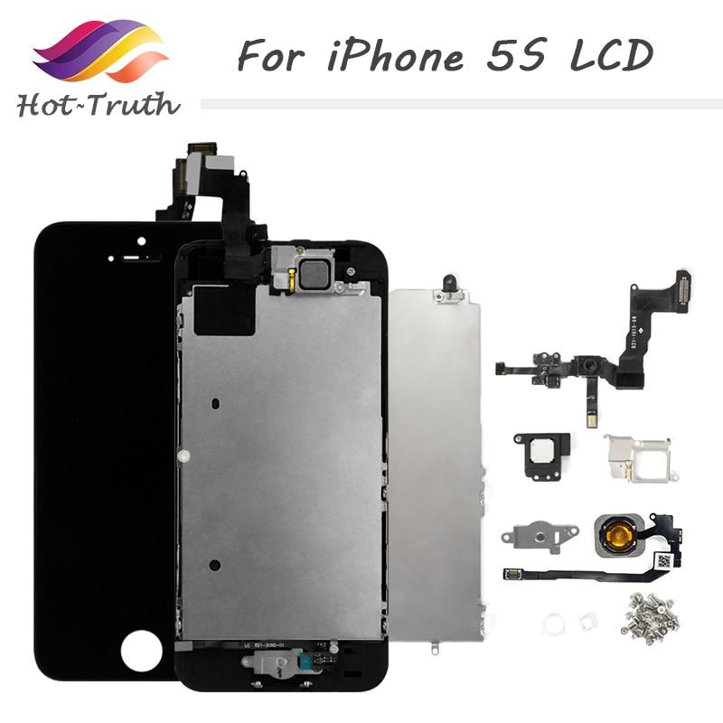 Ekran iPhone 5 s LCD Ekran için Tamamen LCD Dokunmatik Ekran çerçevesi + Ev Düğmesi + Ön Kamera + Hoparlör yedek tertibat