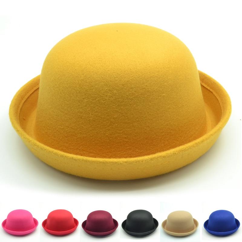 Sombrero fedora para niñas de marca, sombrero de cúpula, sombrero de vestir para niños, gorras de fieltro para niños, sombrero de lana con moño de fieltro