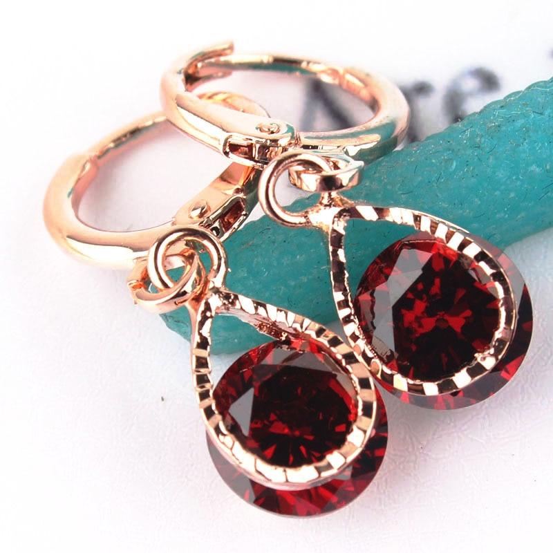 Envío Gratis, producto en oferta, moda nueva, color dorado, 5 colores, pendientes colgantes de piedras de cristal CZ para mujer, regalo de joyería