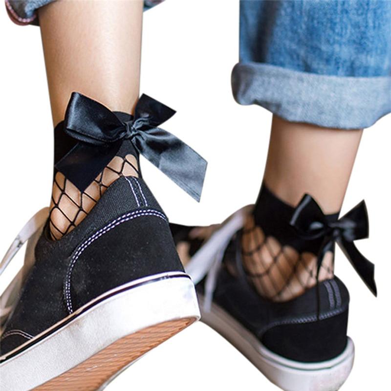 1 пара, женские ажурные носки до щиколотки, тонкие кружевные короткие носки с бантом и сеточкой, женские аксессуары для косплея в стиле Лолиты