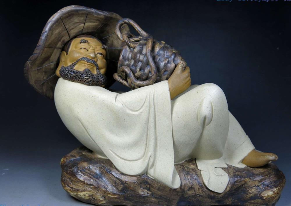"8"" China handmade fine sculpture pottery beautiful lucky old fisherman Statue"