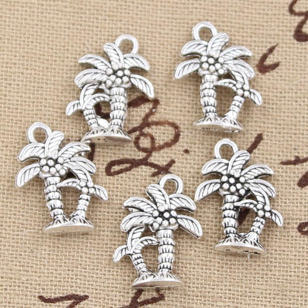 8pcs Charms Palm Tree Coconut 18x13mm Antique Making Pendant fit,Vintage Tibetan Silver color,DIY Handmade Jewelry