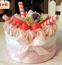 Caixa de armazenamento de bolo creme tecido kit feltro pano não-tecido artesanato diy conjunto de costura feltro handwork material diy needlework suprimentos