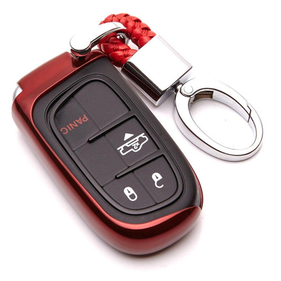 New TPU Car Key Cover Case For Jeep Grand Renegade 2014 2015 Cherokee Chrysler 200 300C Compass Patriot Wrangler Car Accessories