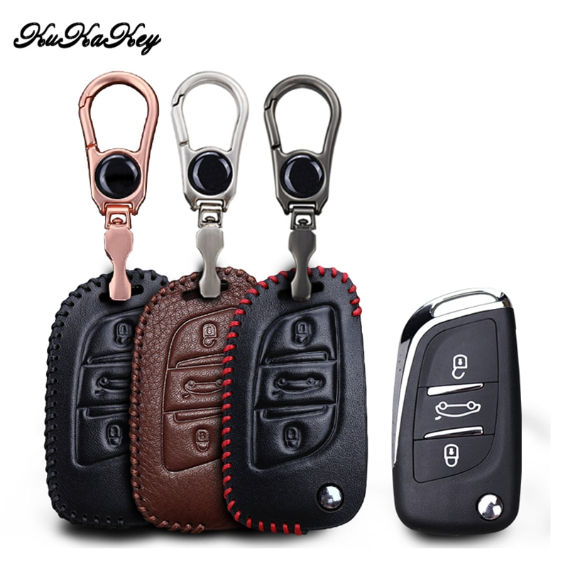 KUKAKEY Leather Car Key Cover Case  For Peugeot 206 207 301 306 307 Sw 308 407 408 507 508 2008 3008 Car Styling Accessories