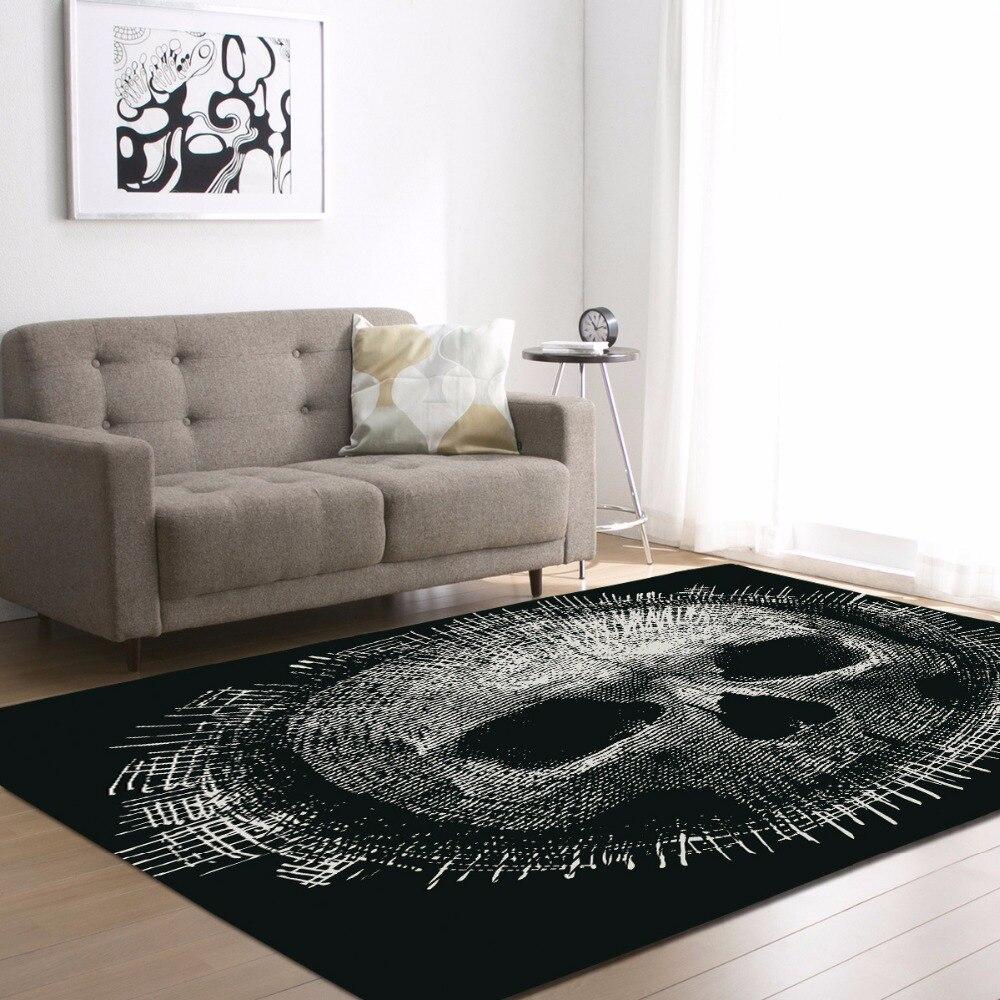 سجادة أرضية حديثة مع طبعة جمجمة ثلاثية الأبعاد ، سوداء ، لغرفة المعيشة ، الفراش ، مساحة كبيرة مستطيلة ، ديكور المنزل