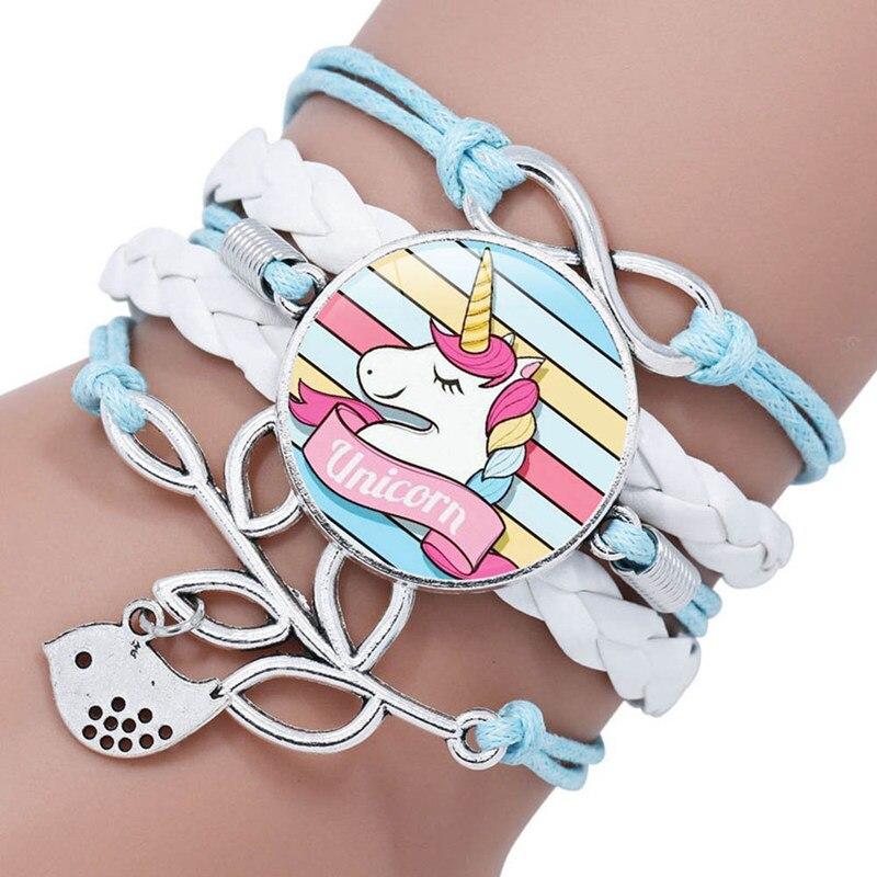 2019 Hot Unicorn Pegasus Fly Horse  Glass   Braided Multi Layer Bracelets Men Women Fashion Leather Bead Bangle Gifts
