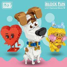 LOZ diamant blocs jouets mignons blocs de construction chiffres en plastique assemblage jouets éducatifs sourire amour tabouret dessin animé chien animaux bricolage