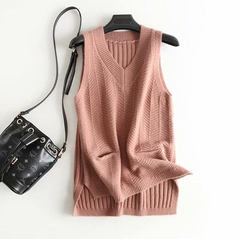 Faux Punto de Cachemira blanco mujer chaleco 2020 nueva primavera sólido bolsillo sin mangas chaqueta femenina suéter chaleco Mujer