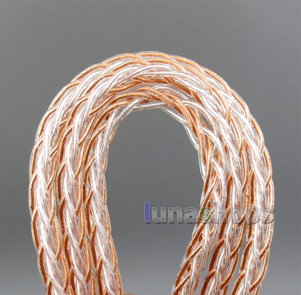 LN006037 8 core 2,5mm 3,5mm 4,4mm equilibrado MMCX puro OCC chapados en plata Cable de auriculares para Shure SE535 SE846 Se215 de BA
