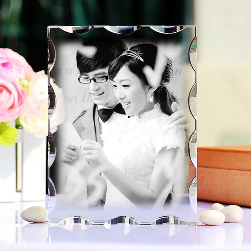 Personalizado retângulo de cristal casamento álbum de fotos família quadro de fotos do bebê diy personalizado molduras para presentes decoração casa