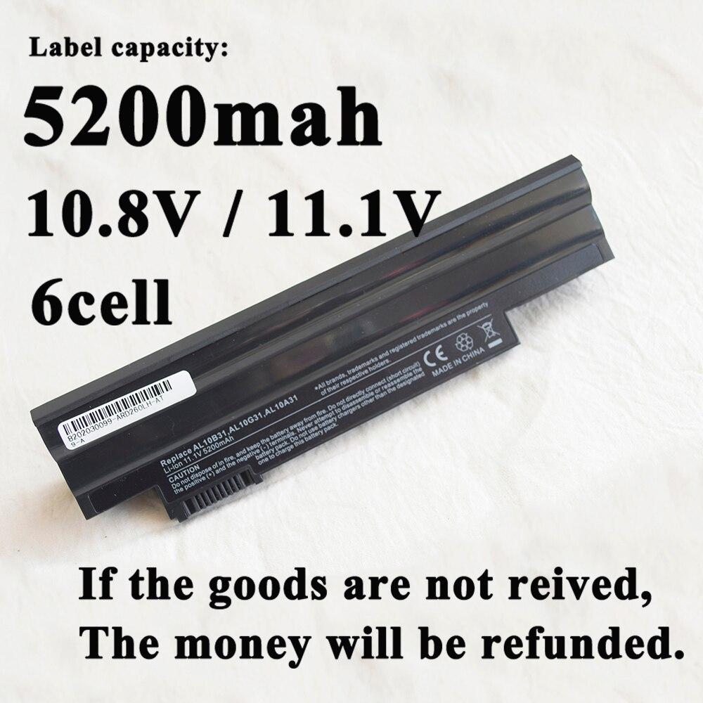 6Cell Laptop Battery for Acer AL10G31 AOD255E D257E E100 AL10A31 ICR17/65 AL10G31 AL10G3 AL10BW AL13C32 AK.006BT.074