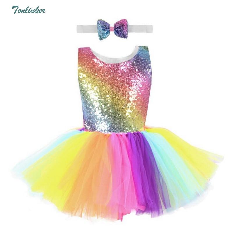 Girls Rainbow Sequins Tutu Dress for Kids Backless Sleeveless Fancy Party Children Girl Birthday Theme Costumes