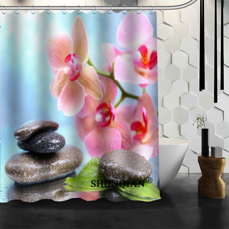 Gran oferta, cortinas de baño, cortina de ducha de flores rosas, cortina de tela de poliéster impermeable personalizada para Baño
