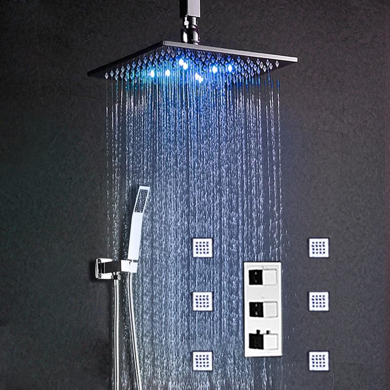 Système de douche de pluie carré   Plafond thermostatique, bain de douche Hydro Power, luminaires de douche, bain de douche de 12 pouces/laiton chromé