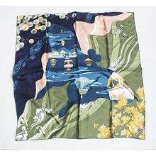 Écharpe en soie sergé 100% pour femmes   Grands foulards de tête carrés en soie, écharpes châle, 35