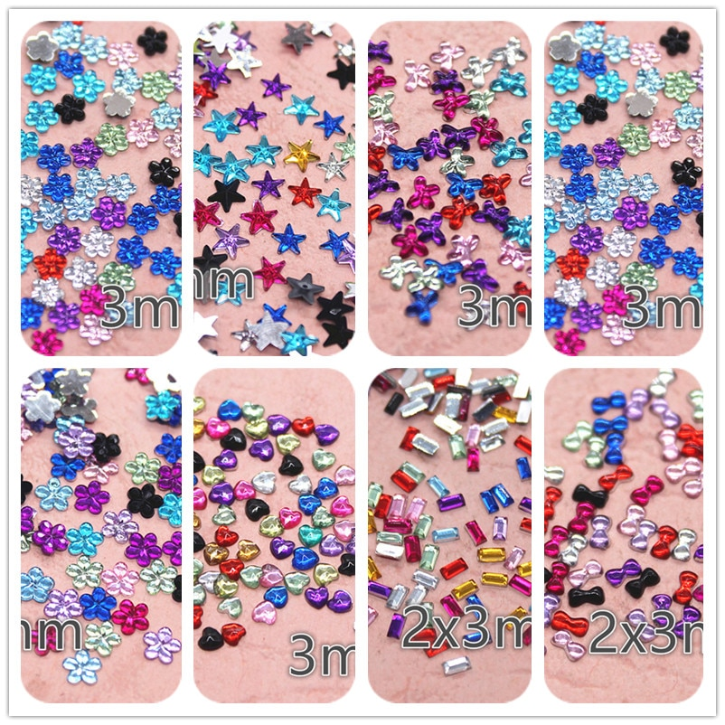 3/6mm shiny mix color mini bow flower crylic rhinestone Flat back Cabochon Art Supply Decoration Charm Craft