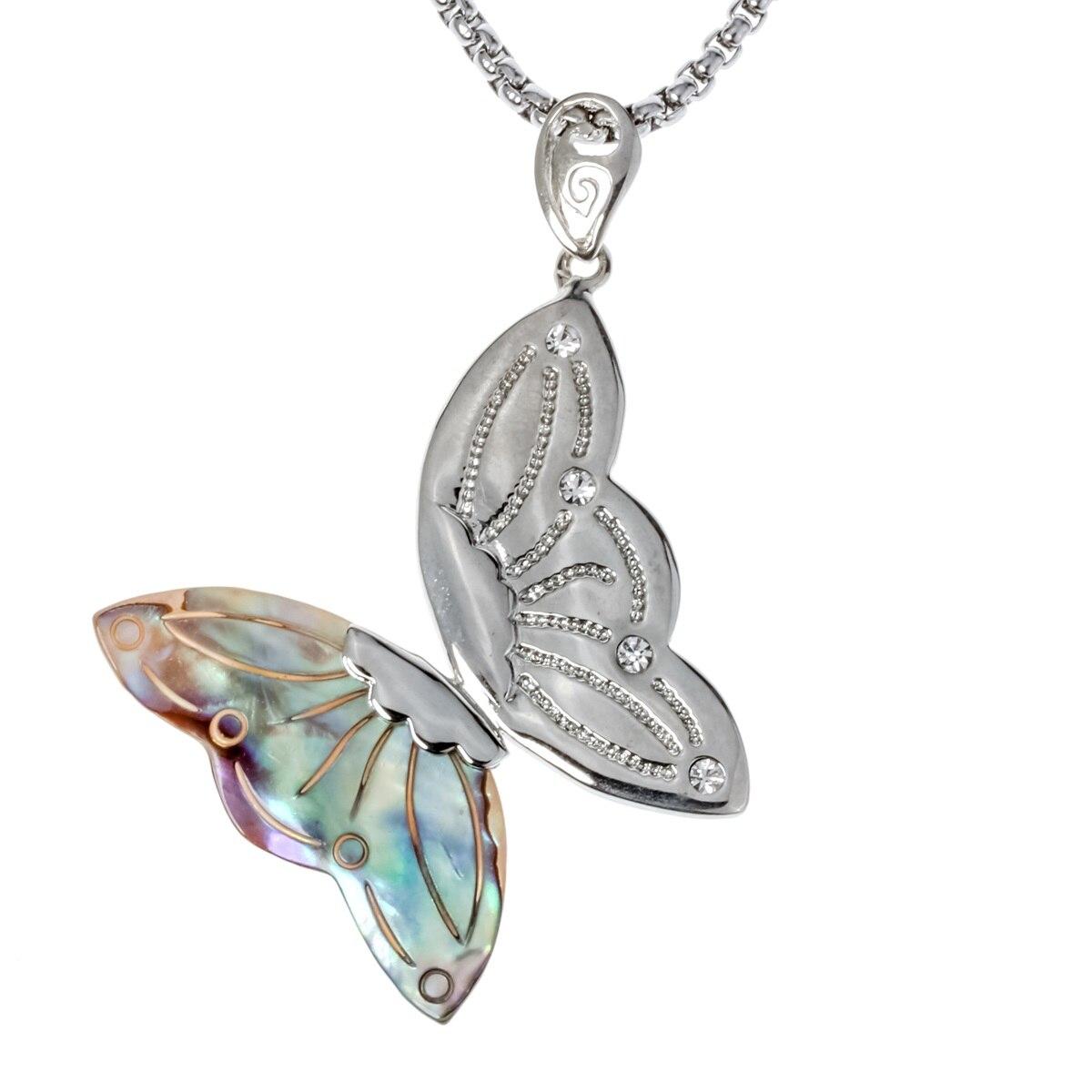 Abalone shell collar con colgante de mariposa W Acero inoxidable cadena bisutería regalos de cumpleaños para las mujeres, su esposa novia