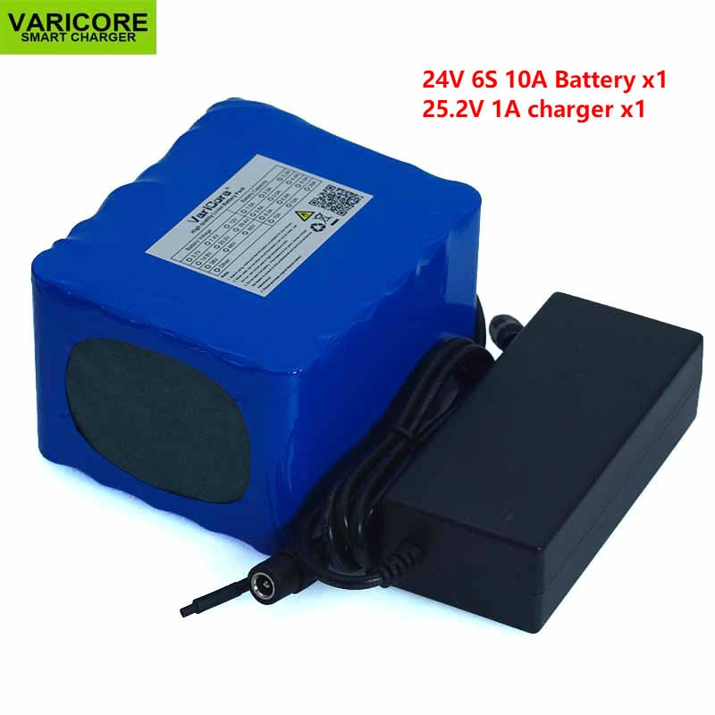 Batería de litio de 24 V, 10 Ah, 6S5P, batería de litio de 24 V, bicicleta eléctrica de 24 V, ciclomotor, paquete de batería eléctrica de iones de litio + cargador de 18650 V y 2a