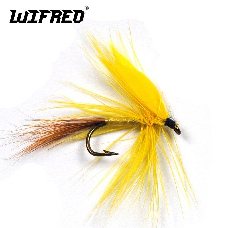 Wifreo 6 uds ventilador amarillo ala Drake Mayfly mosca seca trucha moscas moho Mayflies mosca pesca