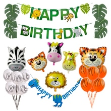 Joyeux anniversaire fête décorations enfants bannière Safari Jungle fête Animal bannière dinosaure fête papier guirlande bébé douche fournitures