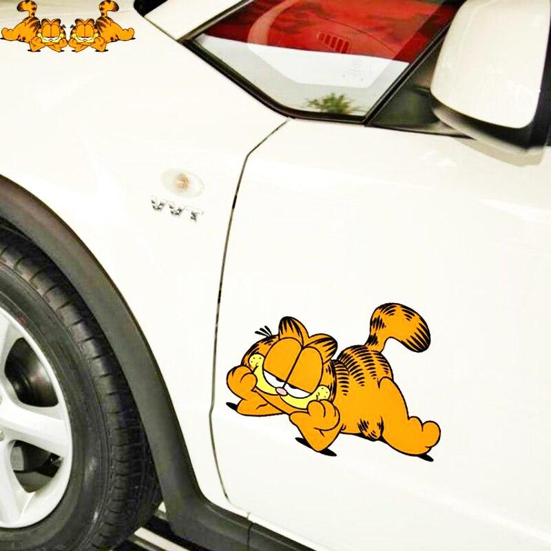 Aliauto 2 х автомобиля украшения Забавный Daze Гарфилд мультфильм стикер для Toyota Proda Corolla 2014 Auris Camry Verso Hilux Tundra MINI