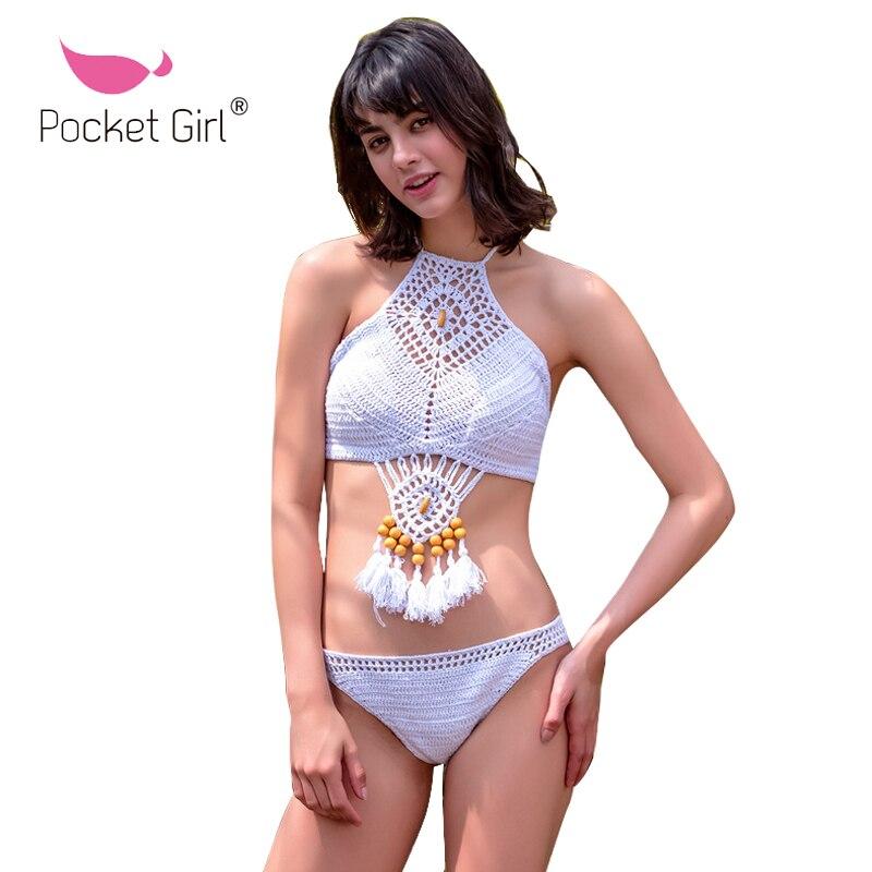 Pocket Girl 2020  Vintage Tassel Crochet Bikini Set Swimwear Women Trikini Halter Brazilian Bathing Suit Vintage Maillot De Bain