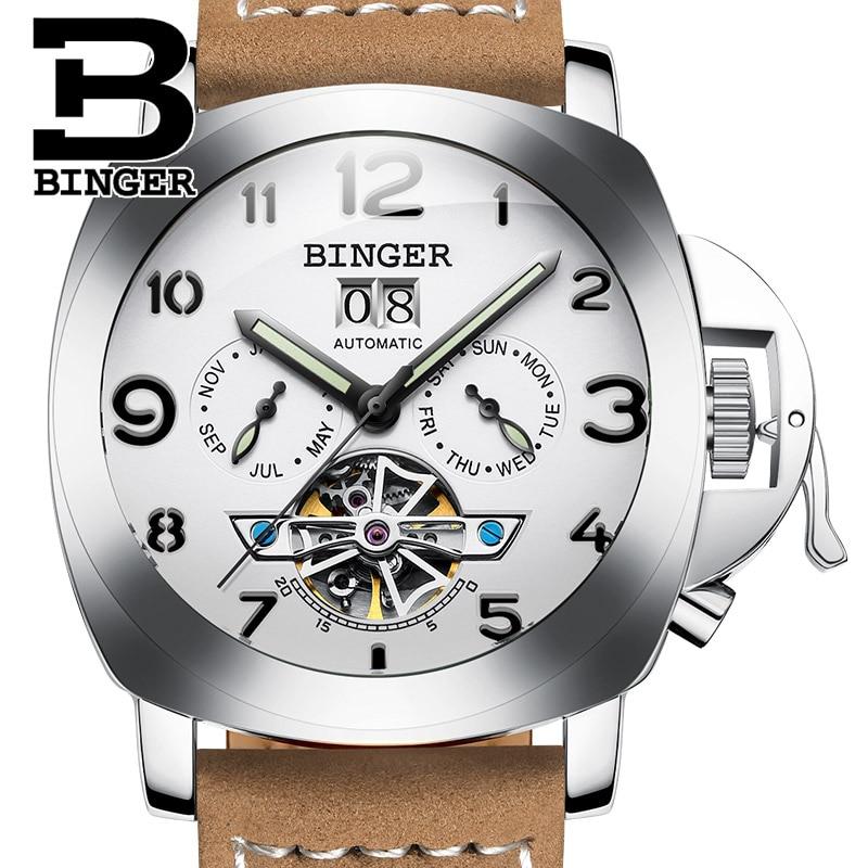 Switzerland luxury men's watch BINGER brand clock multifunctional military glowwatch Tourbillon Mechanical Wristwatches B1170