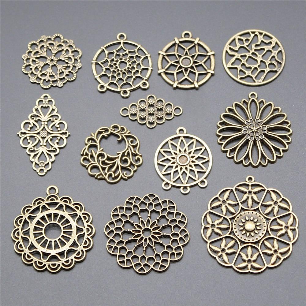 6 piezas de dijes de colección con motivos florales atrapasueños conector colgante de Color bronce antiguo dijes accesorios de joyería