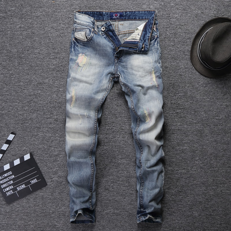 Italian Style Fashion Men Jeans Newly Designer Light Blue Embroidery Patchwork Vintage Ripped Streetwear Hip Hop