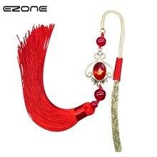 EZONE rétro métal épingle à cheveux signet avec gland frange porte-livre rouge/vert/bleu chinois Style ethnique livre marqueur papeterie