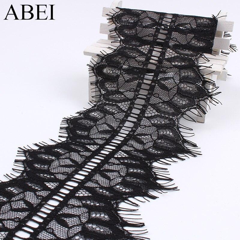 3 jardas/lote 11 centímetros bordado malha Tecido de Renda Cílios Preta Guarnições Acessórios de Vestuário Artesanal DIY Guarnições de Renda