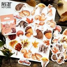 46 Pz/pacco Autunno Foresta Partito Adesivo Fai da Te Adesivi Decorativi Album Diario Etichetta Bastone Decorazione Adesivi Cancelleria