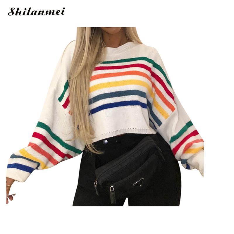 Harajuku Clarissa Sweater blanco sólido Jumper patrón de arco iris Cropped Knit suéter de gran tamaño 2019 otoño mujeres Casual pulóveres