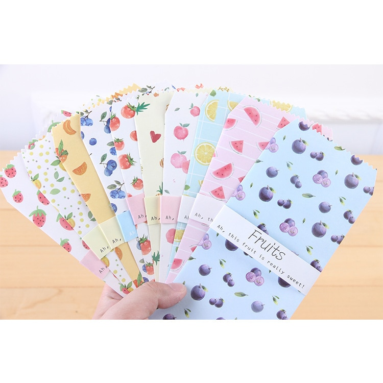 6pcs/pack Cute Fruit Paper Envelope Letter Paper Message Card Letter Stationary Storage Paper Gift