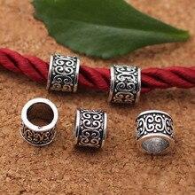 10 pcs/lot tibétain argent Tube en relief grand trou entretoise perles à la main breloque métal perles bricolage Bracelets fabrication de bijoux résultats
