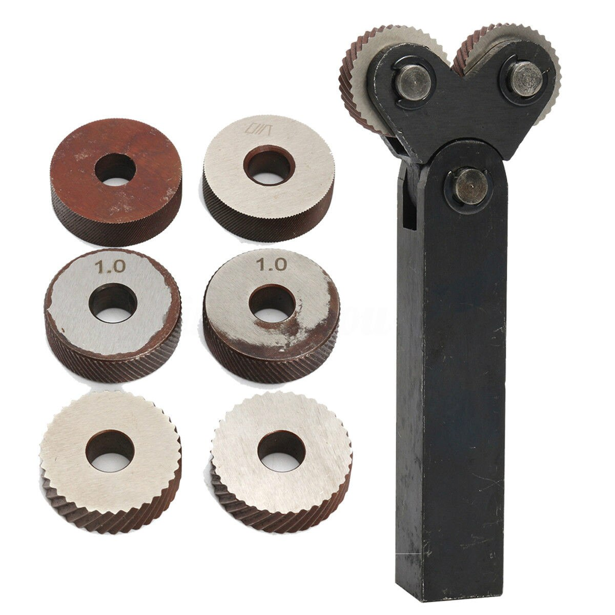 7 pces de aço duplo roda serrilhamento conjunto de ferramentas com diagonal linear knurl roda 1.2/2.5/3.0mm passo linear knurl conjunto torno cortador