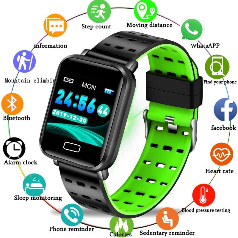 LIGE deporte pulsera inteligente impermeable Fitness rastreador reloj podómetro monitor de ritmo cardíaco reloj inteligente para Android ios + cinturón de Milán