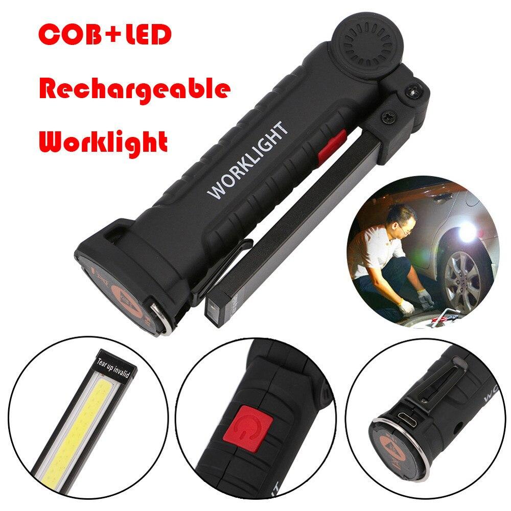 Linterna de trabajo COB + linterna LED magnética recargable lámpara de inspección Flexible batería portátil inalámbrica luz de trabajo