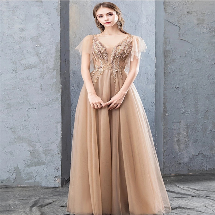 Charming Long Tulle Evening Dress with Beaded Lace Illusion Bodice A-Line Prom Dresses Sexy V-Neck Evening Gown