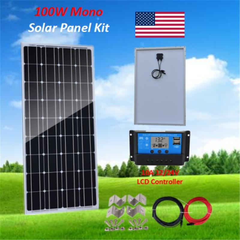 Kit DIY de Panel Solar de 100 vatios con PWM 10A 12 24V, controlador de carga Solar + Cable Solar de 5M + soporte Z fuera de la red barco