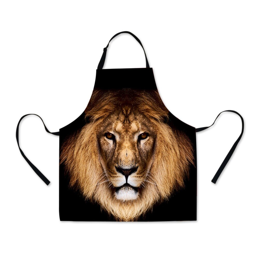 Delantal completo con dibujo de lobo León para hombres, delantal escolar con patrón de Animal fresco para niños, delantal babero personalizado para la parrilla de la cocina