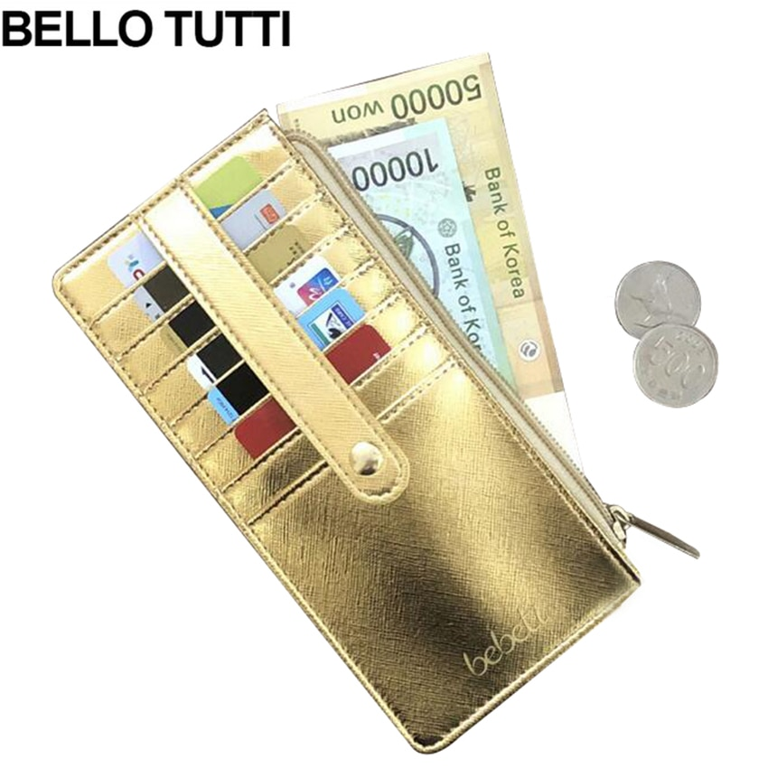 dudini fashion korean style wallet pu leather long section wallet women printing geometric pattern zipper 1 fold women wallets BELLO TUTTI Fashion Women Wallets Long Style Purse Fresh PU Leather Female Wallet Simple Design Zipper Card Holder Envelope Bag