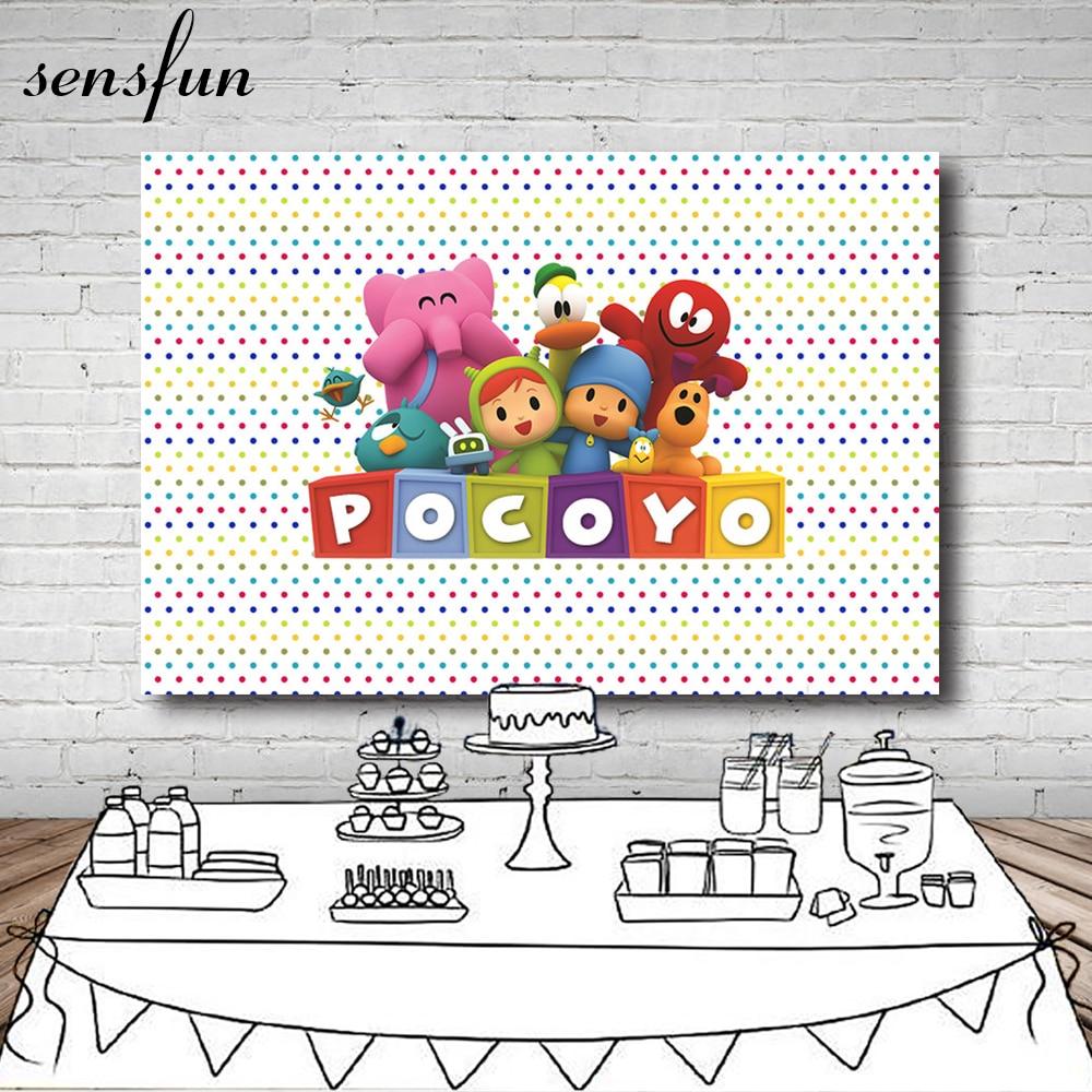 Sensfun Photography Backdrop Cartoon Characters Pocoyo Birthday Party Baby Shower Children Photo Backgrounds Vinyl Polyester